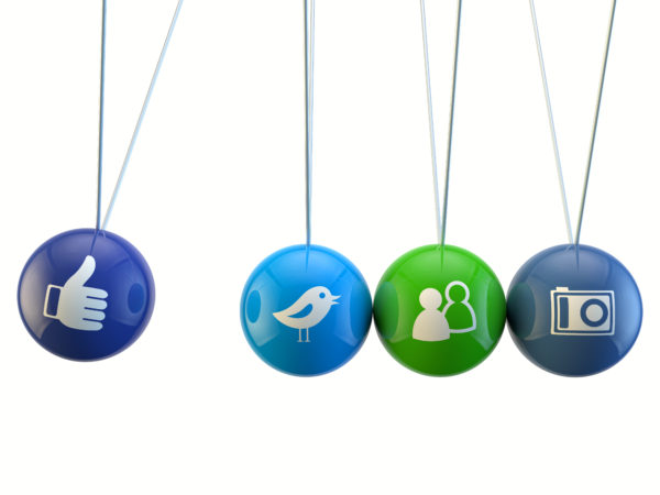 social media newton cradle