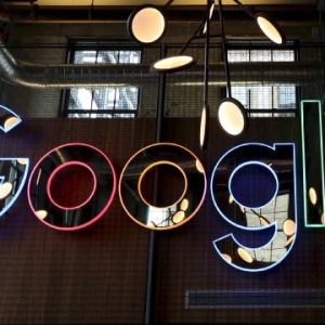 A neon Google sign is seen in the foyer of Google's new Canadian engineering headquarters in Kitchener-Waterloo